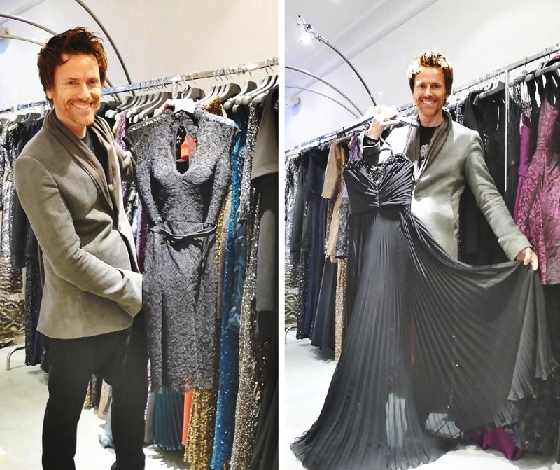 Don with some of his THEIA gown selection- the best dressed lady – chosen by Orla Diffily- will win a dream prize of a THEIA evening gown of her choice,