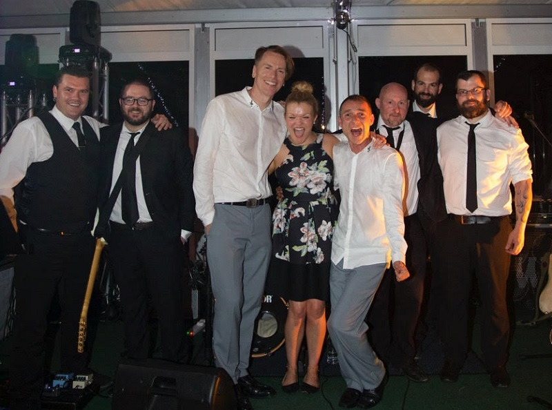 Don and Pascal with the Bentley Boys Band on their Wedding Day